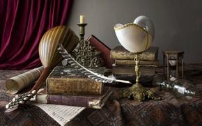 Картинка перо, книги, свечи