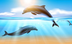 Картинка Вода, Море, Дельфины, Подводный мир, Морской пейзаж, Лучи света, Векторная графика, Солнечный свет, Прыгающие дельфины