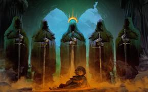 Картинка апокалипсис, мальчик, статуи, boy, обряд, fantasy art, apocalypse, ад, фэнтези арт, Anato Finnstark, rite, dark …