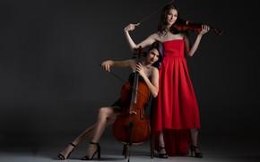 Картинка музыка, девушки, скрипки