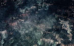 Картинка город, туман, поздний вечер