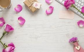 Картинка любовь, цветы, подарок, сердце, розы, лепестки, love, розовые, heart, pink, romantic, coffee cup, valentine's day, …