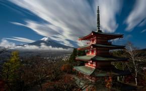 Картинка гора, Япония, пагода, Хонсю, Фудзияма, Mount Fuj