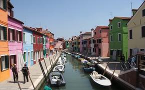 Картинка дома, Италия, Венеция, канал, остров Бурано