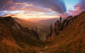 Картинка desert, sunset, mountains, rocks
