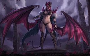 Картинка взгляд, девушка, крылья, демон, демонесса