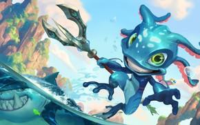 Картинка море, скалы, акула, существо, трезубец, Fizz, Legends of Runeterra