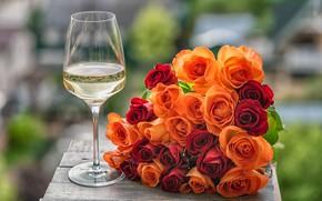 Картинка цветы, бокал, розы
