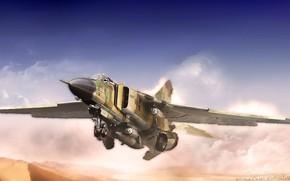 Обои МиГ-23, by ABiator, истребитель, Советский истребитель, Alexander Iartsev, Арт, Советский многоцелевой истребитель, Flogger, МиГ-23МЛ, Многоцелевой ...