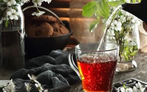 Картинка вода, цветы, чай, печенье