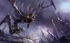 Картинка dark, fantasy, monster, weapon, cemetery, battle, digital art, artwork, warrior, fantasy art, cloak, spear, crosses, …