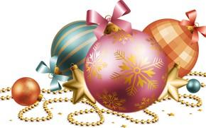 Картинка украшения, шары, графика, Рождество, Новый год