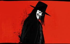 Картинка Красный, Минимализм, Фон, Маска, Vendetta, Арт, Art, Anonymous, Guy Fawkes, Анонимус, Minimalism, Персонаж, Mask, Гай …