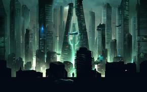 Картинка Ночь, Город, Будущее, Небоскребы, Фантастика