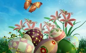 Картинка цветы, рендеринг, яйца, Пасха, flowers, spring, easter