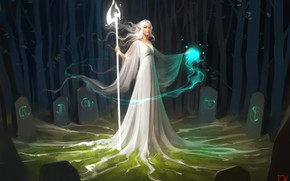 Картинка girl, fantasy, forest, magic, long hair, dress, night, digital art, artwork, fantasy art, Elf, white …