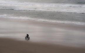 Картинка море, велосипед, берег