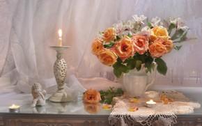 Картинка цветы, стиль, розы, букет, свечи, статуэтка, натюрморт, подсвечник, салфетка, альстромерия, Валентина Колова