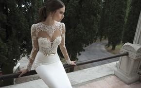 Картинка взгляд, девушка, фигура, платье, свадебное