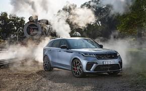Картинка авто, дым, паровоз, пар, железная дорога, Land Rover, Range Rover, кроссовер, Velar