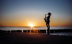 Обои море, пляж, девушка, закат, берег, саксофон