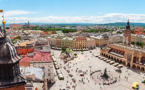 Картинка дома, площадь, Польша, памятник, Краков, Мариацкая площадь, Главный рынок