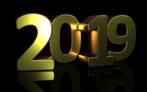 Картинка Новый год, золотой, 2019