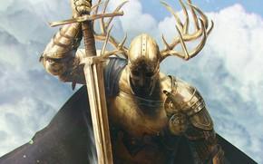 Картинка облака, меч, рога, рыцарь, доспех
