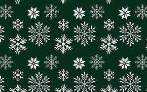 Картинка снежинки, зеленый, фон, текстура