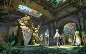 Картинка лягушка, ситуация, царь, фэнтези, приключения, трон, путишествие, Illustrator, Rob Vital, King toad