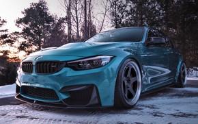 Картинка зима, снег, BMW, бирюза