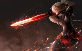 Картинка девушка, меч, доспехи, Fate - Apocrypha, Судьба Апокриф