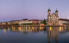 Картинка город, река, фото, здания, Люцерн
