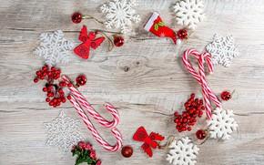 Картинка шарики, снежинки, ягоды, Рождество, Новый год, леденцы