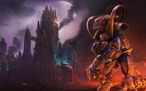 Картинка город, дым, starcraft, стратегия, protoss, поражение, протосы, remastered