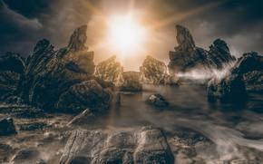 Картинка море, небо, солнце, лучи, свет, тучи, природа, камни, рендеринг, скалы, коллаж, берег, вершины, рельеф, валуны, …