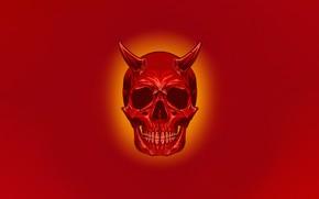 Картинка Минимализм, Череп, Стиль, Фон, Рога, Арт, Art, Devil, Style, Skull, Red Skull, Background, Minimalism, Дьявол, …