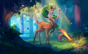 Картинка лес, фэнтези, арт, детская, Lunara, SmirnovSchool, Marina Nechaeva