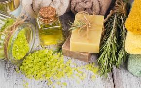 Картинка полотенце, мыло, relax, баночки, wood, spa, соль для ванны, масло оливковое