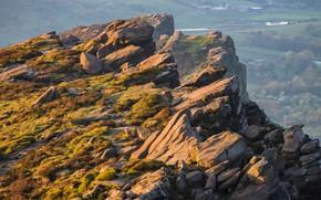 Картинка солнце, скала, камни, рассвет, высота, гора, долина, Великобритания, хребет, The Roaches