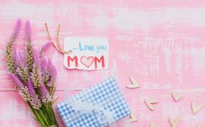 Обои любовь, цветы, подарок, сердце, love, wood, pink, flowers, hearts, gift, mother's Day