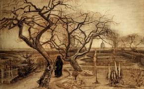 Картинка деревья, Винсент ван Гог, женщина в чёрном одеянии, Winter Garden
