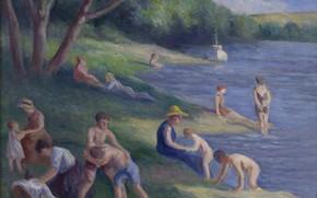 Картинка картина, 1929, жанровая, Максимильен Люс, Maximilien Luce, Пляж в Мерикуре