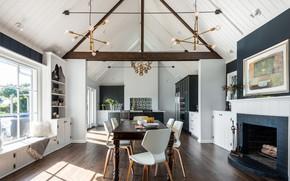 Картинка интерьер, кухня, камин, столовая, Seward Park Gables – Board & Vellum