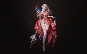 Картинка Girl, Fantasy, Art, Style, Background, Illustration, Minimalism, Dress, Character, Staff, SOO JOOP