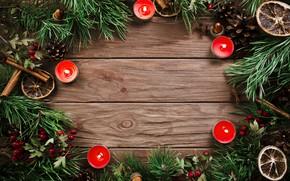 Картинка елка, свечи, Новый Год, Рождество, Christmas, шишки, wood, New Year, decoration, Merry, fir tree, ветки …