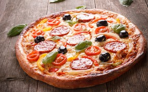 Картинка зелень, стол, пицца