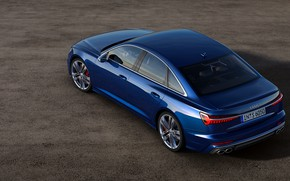 Картинка синий, Audi, сверху, седан, сбоку, Audi A6, 2019, Audi S6