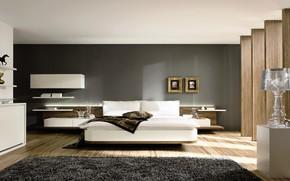 Обои дизайн, кровать, интерьер, подушки, картины, полки