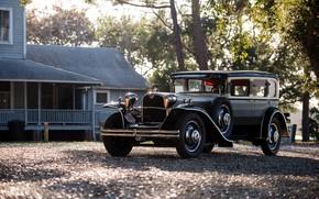 Картинка car, house, trees, black car, classic car, Oldtimer, Ruxton Model C